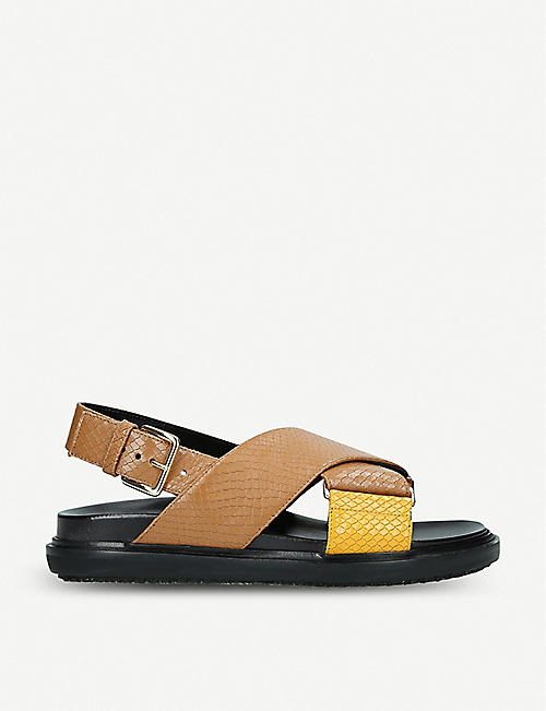 2894e65f450 MARNI Fussbett cross strap leather sandals