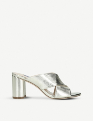 STUART WEITZMAN Galene metallic leather mules