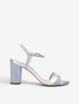 STUART WEITZMAN Windy metallic leather and suede sandals