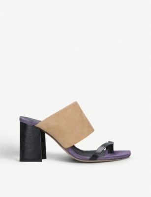 DRIES VAN NOTEN Leather and calf-hair mules