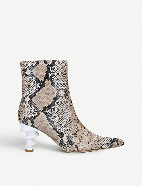 KALDA Island 70 snake-embossed leather ankle boots