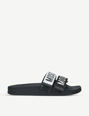MOSCHINO Logo tape leather sliders