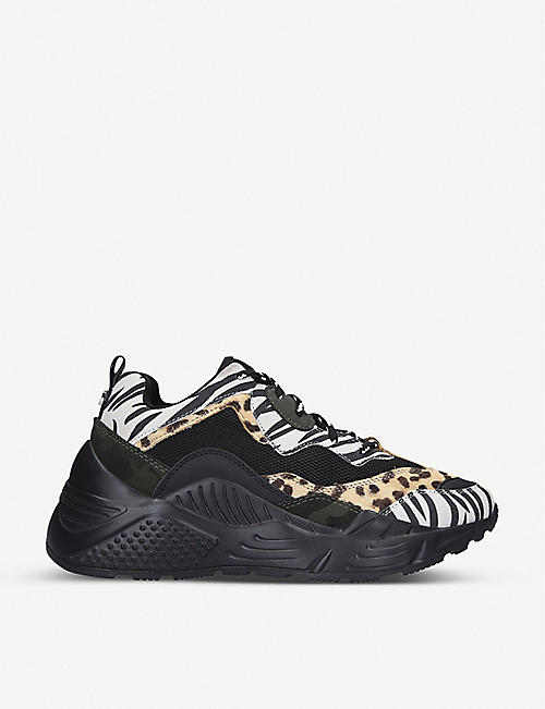 STEVE MADDEN: Antonia animal print-panelled leather trainers