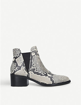 STEVE MADDEN: Cade snake-print faux-leather Chelsea boots