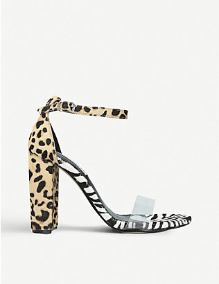 STEVE MADDEN: Carrson leopard and zebra-print faux-leather heeled sandals