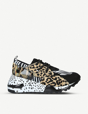STEVE MADDEN Cliff animal-print leather trainers