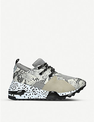 STEVE MADDEN: Cliff snakeskin-embossed leather and mesh trainers
