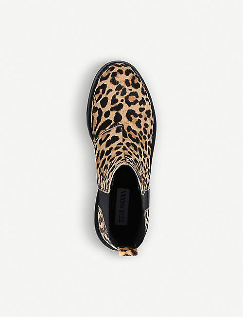 STEVE MADDEN Gliding leopard-print leather boots