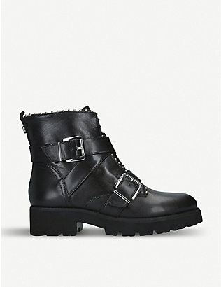 STEVE MADDEN: Hoofy leather biker boots