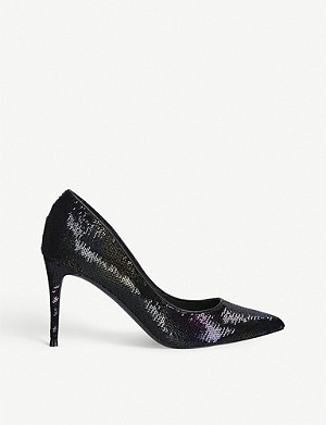 STEVE MADDEN Lillie sequinned court shoes