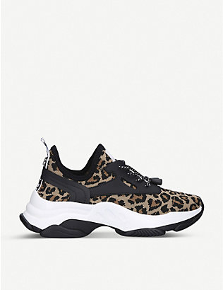 STEVE MADDEN: Match animal-print knitted trainers