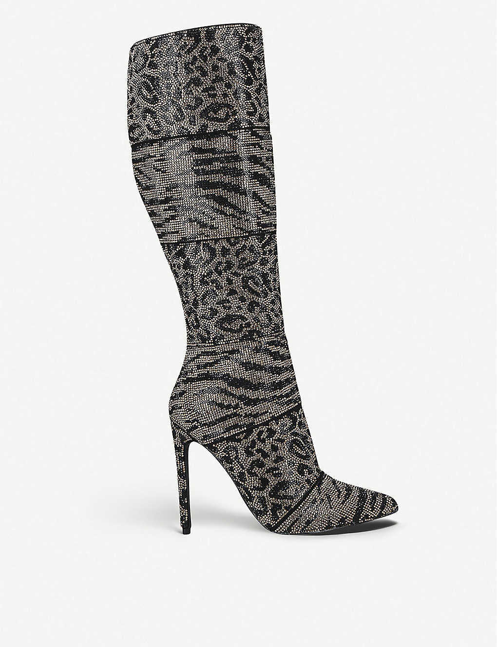 STEVE MADDEN: Winner animal-print leather knee-high boots
