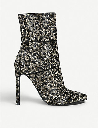 STEVE MADDEN: Winona leopard-print embellished-woven ankle boots