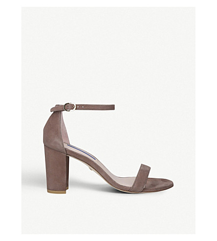 Stuart Weitzman Nearlynude 80 Suede Heeled Sandals In Taupe