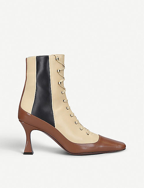 MANU ATELIER Duck leather lace-up ankle boots