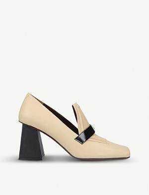 MANU ATELIER Square-toed leather heeled loafers