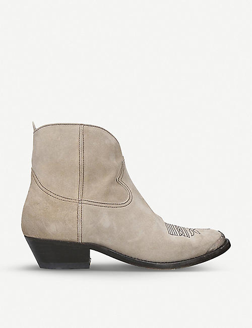 GOLDEN GOOSE Embroidered suede cowboy boots