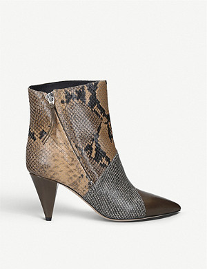 ISABEL MARANT Latts snake-print leather ankle boots