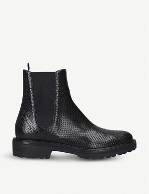 DRIES VAN NOTEN Snakeskin-embossed leather ankle boots