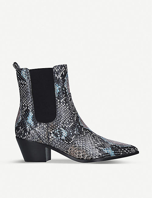 PAIGE Willa snakeskin-effect leather ankle boots