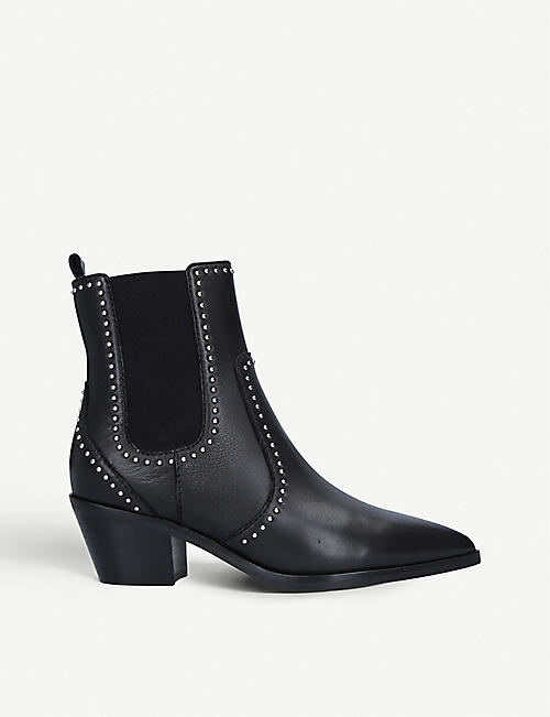 PAIGE Willa leather and woven heeled ankle boots