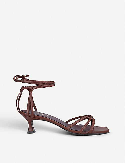 MANU ATELIER Lace low-heeled leather sandals