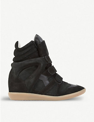 ISABEL MARANT: Bekett suede and leather wedge trainers