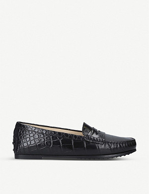 TODS City Gommino crocodile-embossed leather loafers