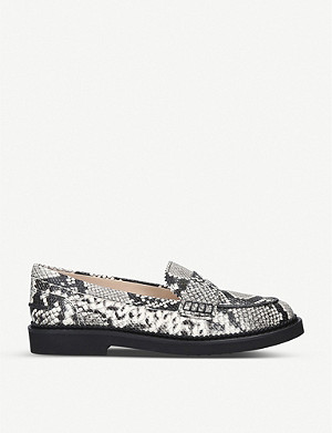 TODS Snake-embossed leather loafers
