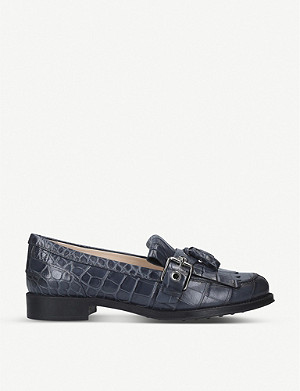 TODS Crocodile-embossed leather tassel loafers