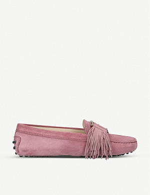 TODS Gommini fringe-detail suede driving shoes