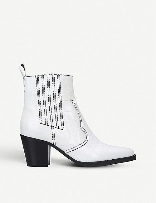 GANNI Western croc-embossed leather heeled ankle boots