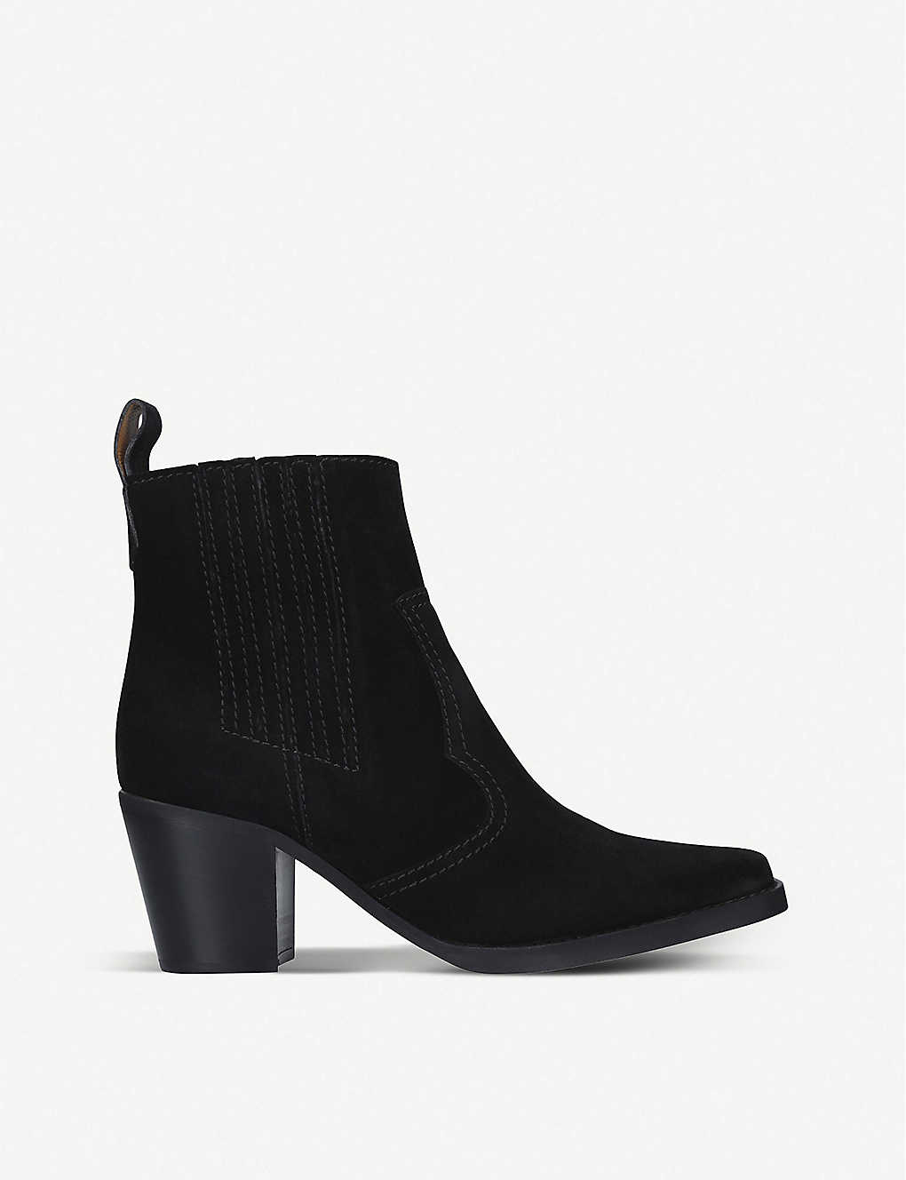 GANNI: Western leather heeled ankle boots