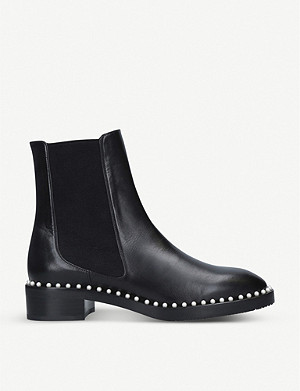 STUART WEITZMAN Cline faux pearl-embellished leather boots