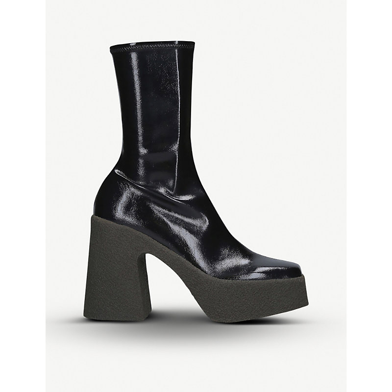 Stella Mccartney Boots CHUNKY FAUX-LEATHER HEELED ANKLE BOOTS