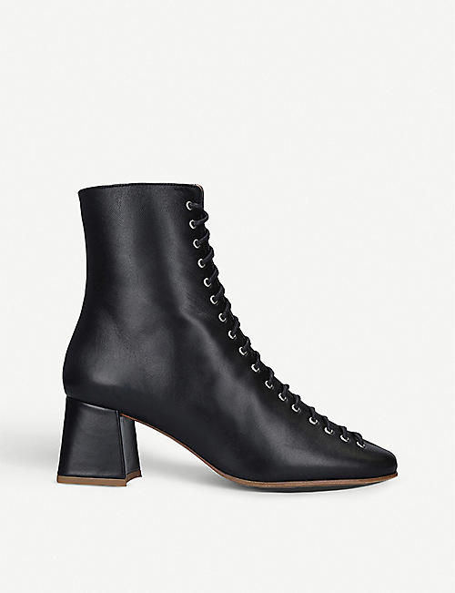 BY FAR Becca leather heeled ankle boots