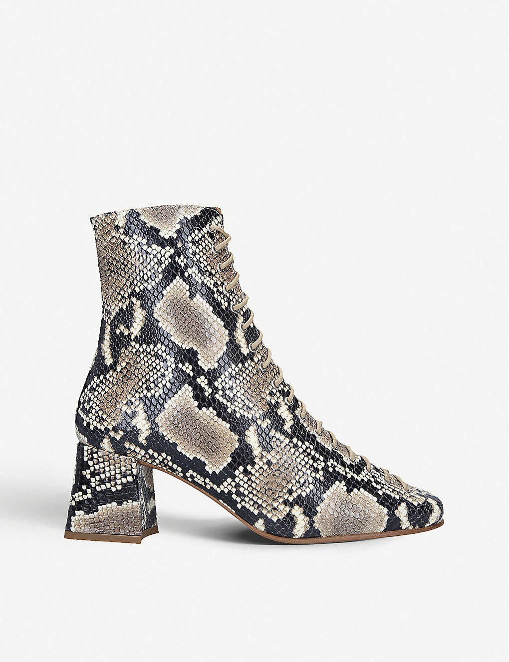 BY FAR: Becca snake-embossed leather heeled ankle boots