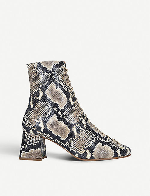 BY FAR Becca snake-embossed leather heeled ankle boots