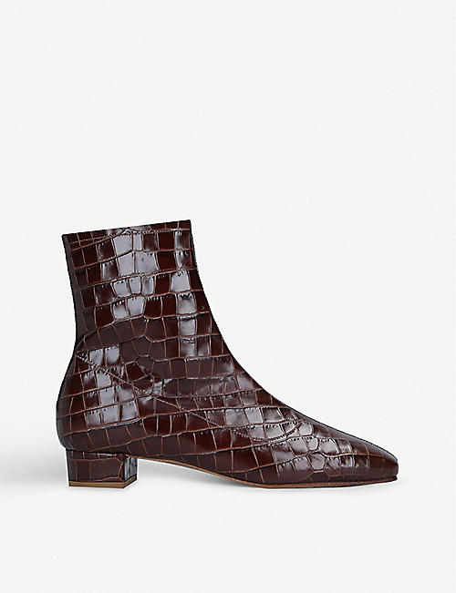 BY FAR Este croc-embossed leather heeled ankle boots
