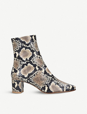 BY FAR Sofia snake-embossed leather heeled ankle boots