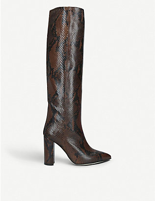 PARIS TEXAS: Block-heel snake-embossed leather knee-high boots