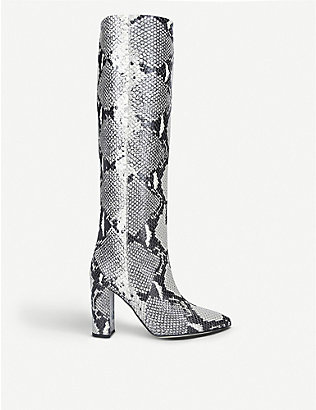 PARIS TEXAS: Block-heel snake-embossed leather heeled knee-high ankle boots