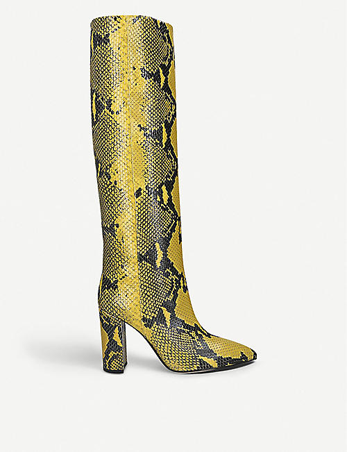 PARIS TEXAS Block-heel snake-embossed leather heeled knee-high ankle boots
