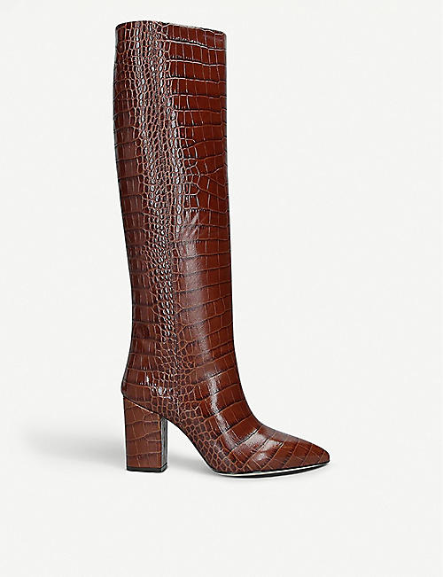 PARIS TEXAS: Block-heel croc-embossed leather heeled knee-high ankle boots
