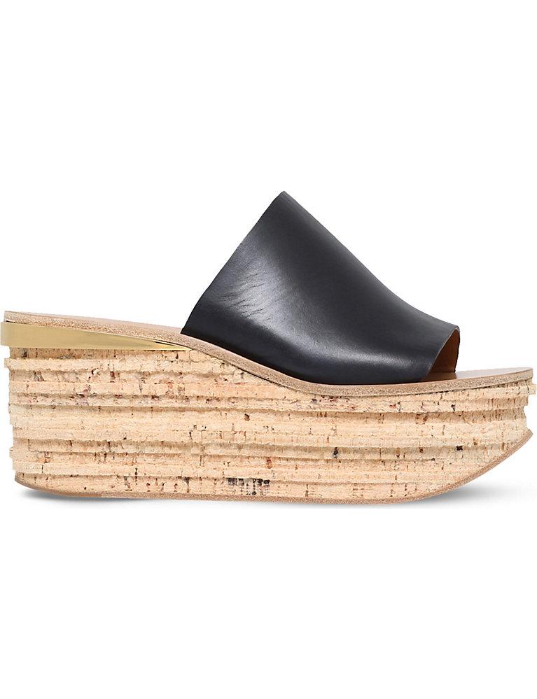 aac91b7297 CHLOE - Camille leather platform wedge mules   Selfridges.com
