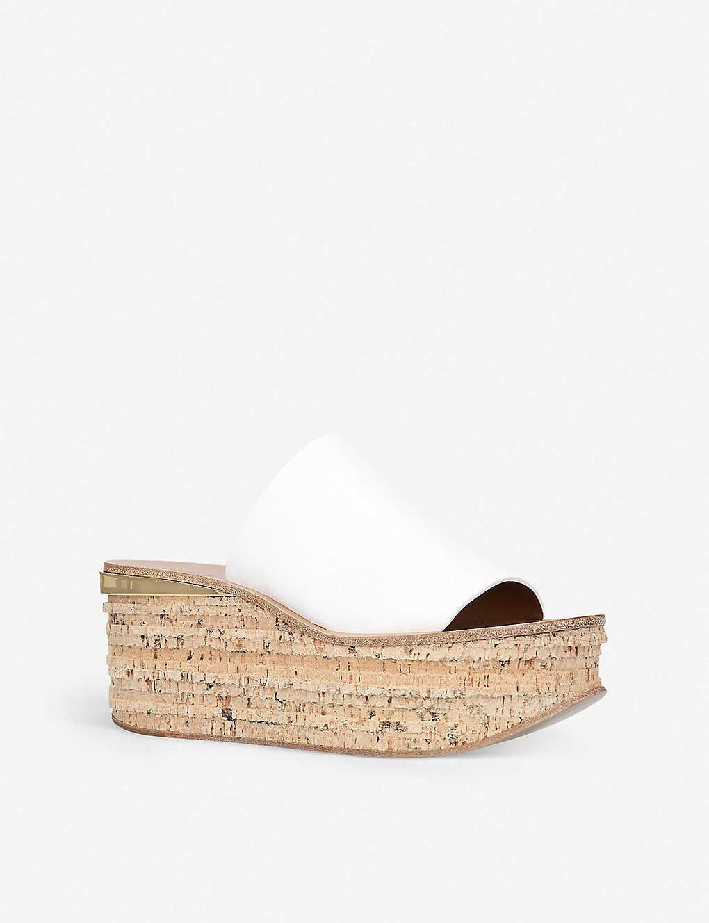 3a2f9e7da433 ... Camille leather cork-wedge sandals - White ...