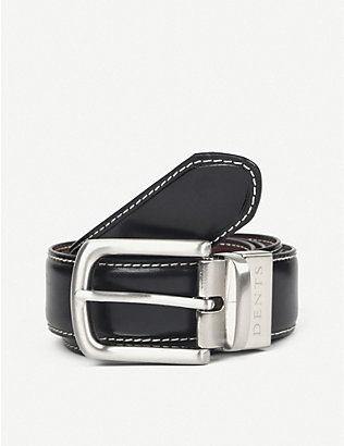 DENTS: Reversible constrast topstitch leather belt