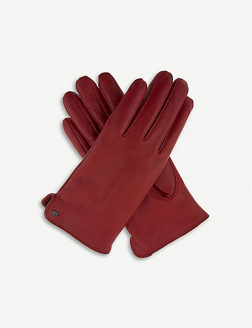 DENTS: Faux-shearling leather gloves
