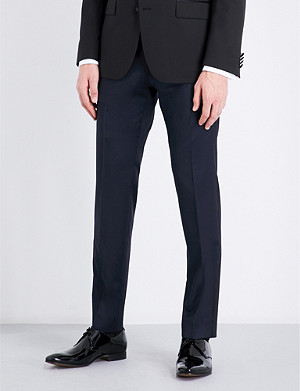 BOSS Regular-fit wool and satin trousers