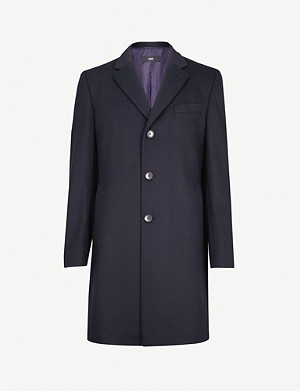 BOSS Single-breasted wool and cashmere-blend coat
